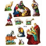 """Nativity 10 Stickers cm.12x16 - 5""""x6"""""""