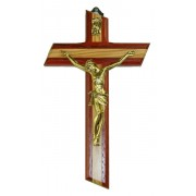 Crucifix Olive Wood with Paduk Wood Gold Plated Corpus cm.16 - 6 3/4""