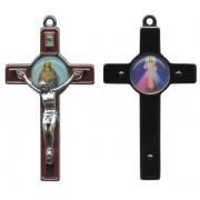 "Sacred Heart of Jesus Metal Crucifix Rhodium Finish Red cm.8- 3"""
