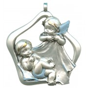 Guardian Angel Pewter Medal Silver Plated Blue and Gold cm.6.5