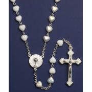 Communion Moonstone Rosary Little Hearts Aurora Borealis Simple Link 6mm White