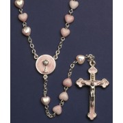 Communion Moonstone Rosary Little Hearts Aurora Borealis Simple Link 6mm Pink