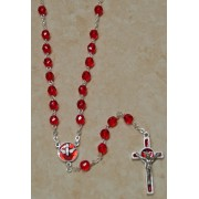 Holy Spirit Bohemia Crystal Rosary Ruby Simple Link 5mm