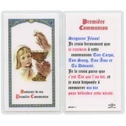 "Communion Prayer- Girl French Text Prayer Card cm.6.6x 11.5 - 2 1/2""x 4 1/2"""