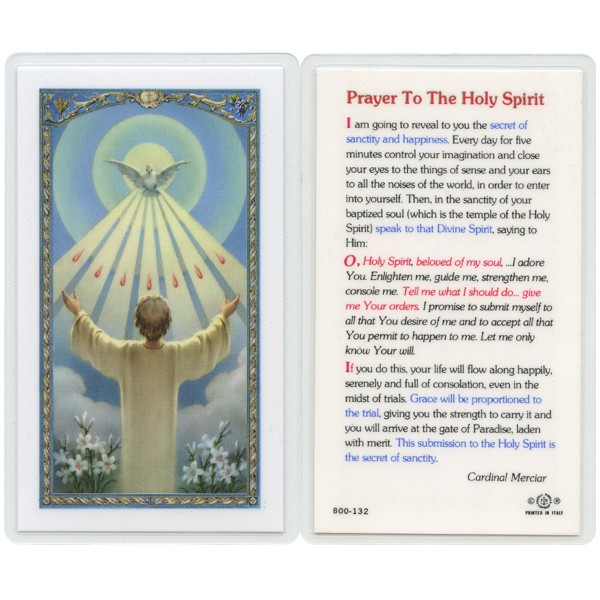 Holy Spirit Prayer Confirmation English Text Prayer Card cm