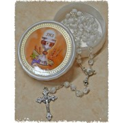 White Communion Rosary with Communion Rosary Box