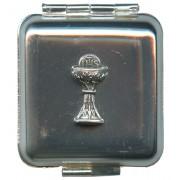"Square Metal Pill Box Aluminium Chalice cm.4x4 - 1 3/4""x 1 3/4"""