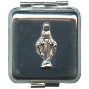 "Square Metal Pill Box Aluminium Miraculous cm.4x4 - 1 3/4""x 1 3/4"""