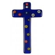 Blue Murano Glass Cross with Murrine cm.16- 6 1/4""