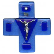 Pewter Corpus Murano Glass Crucifix cm.12.5- 5""