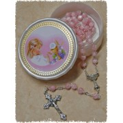 Pink Communion Rosary with Communion Rosary Box