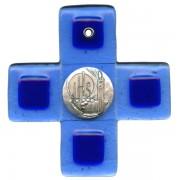 """Jesus Symbol Pewter Corpus Murano Glass Crucifix cm.12.5- 5"""""""
