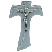 White Murano with Silver Murano Inlay Crucifix cm.16 - 6 1/4""