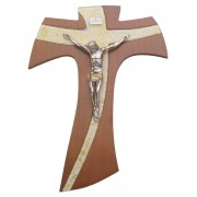 Brown Wood with Silver Murano Inlay Crucifix cm.21 - 8 1/4""