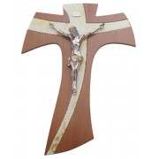 Brown Wood with Gold Murano Inlay Crucifix cm.20- 8""
