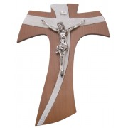 Brown Wood with Silver Murano Inlay Crucifix cm.20 - 8""