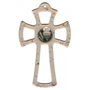 Murano Glass Cross Pink with Chalice cm.16- 6 1/4""