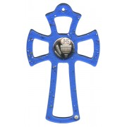 Murano Glass Cross Blue with Chalice cm.16- 6 1/4""