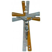 Murano Glass Cross Red with Dove cm.16- 6 1/4""