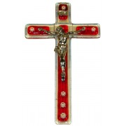 "Red Murano Crucifix cm.9.5x16 - 3 3/4""x 6 1/4"""