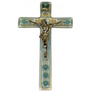 "Light Blue Murano Crucifix cm.9.5x16 - 3 3/4""x 6 1/4"""