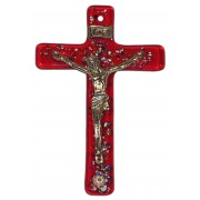 "Red Murano Crucifix cm.6.5x10.5 x 2 1/2"" x 4"""