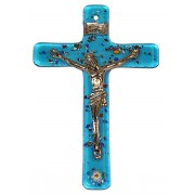 """Aqua Murano Crucifix cm.6.5x10.5 x 2 1/2"""" x 4"""""""