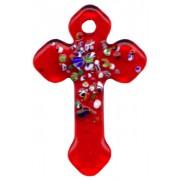 """Red Murano Cross Long cm.4- 1 3/4"""""""