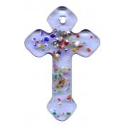 "Blue Murano Cross Long cm.4- 1 3/4"""