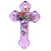 Pink Murano Cross Long cm.4- 1 3/4""