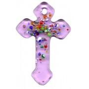 "Pink Murano Cross Long cm.4- 1 3/4"""