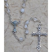Communion Rosary White 6mm