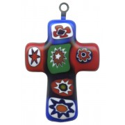Murano Venetian Glass Cross Hand Made Multi Colour cm.3- 1 1/4""