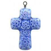"""Murano Venetian Glass Cross Hand Made Sapphire cm.3- 1 1/4"""""""