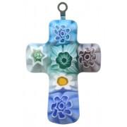 "Murano Venetian Glass Cross Hand Made Multi Colour cm.3- 1 1/4"""