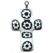 Murano Venetian Glass Cross Hand Made White/Black cm.3- 1 1/4""