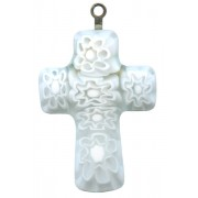 Murano Venetian Glass Cross Hand Made White/Blue cm.3- 1 1/4""