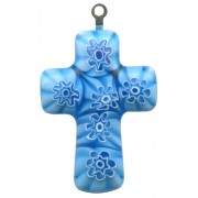 Murano Venetian Glass Cross Hand Made Aqua cm.3- 1 1/4""