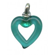 Murano Venetian Glass Cross Hand Made Heart Emerald