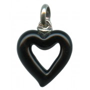 Murano Venetian Glass Cross Hand Made Heart Black