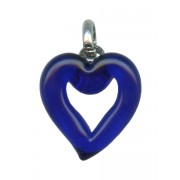 Murano Venetian Glass Cross Hand Made Heart Cobalt