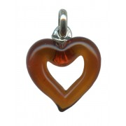 Murano Venetian Glass Cross Hand Made Heart Topaz