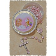Communion Moonstone Rosary Little Hearts Aurora Borealis Simple Link 6mm Pink with Communion Rosary Box