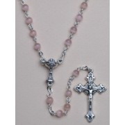 Communion Moonstone Rosary Simple Link 4mm Pink