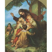 "Jesus with Children High Quality Print with Gold cm.20x25- 8""x10"""