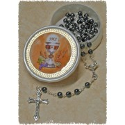 Communion Moonstone Rosary Simple Link 5mm Steel with Communion Rosary Box