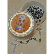 Communion Moonstone Rosary Chalice SImple Link 5mm Steel with Communion Rosary Box