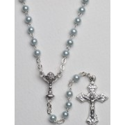 High Quality Imitation Pearl Rosary Chalice Simple Link 4mm Blue