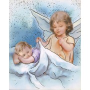 "Guardian Angel High Quality Print with Gold cm.20x25- 8""x10"""