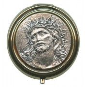 Ecce Homo Metal Gold Plated Pyx with Pewter Picture mm.50- 2""